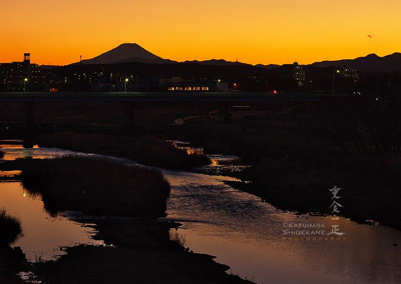 入間川 落日後 富士見橋から富士山