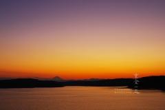 落日後の富士遠望 狭山湖