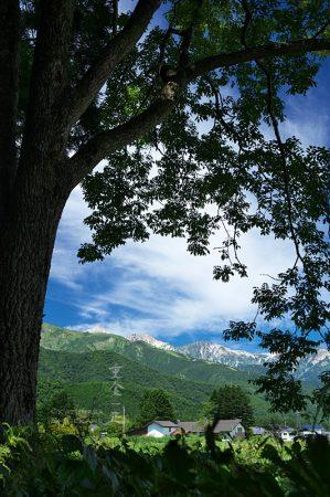 飯田神明社から白馬三山