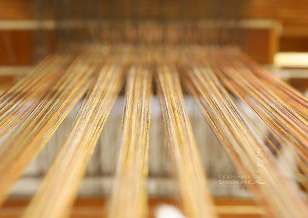 小岩井紬工房 体験織りの経糸